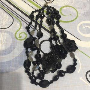Black onyx and labradorite necklace